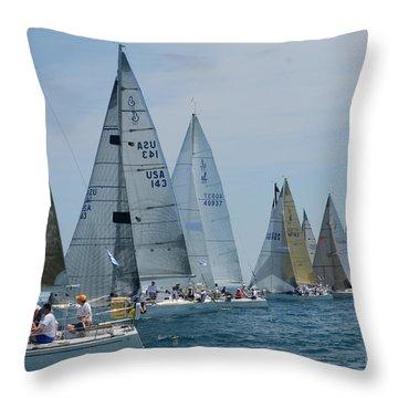 Sailboat Race Throw Pillow by Randy J Heath