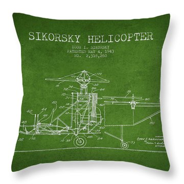Sikorsky Helicopter Patent Drawing From 1943 Throw Pillow