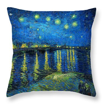 Throw Pillow featuring the painting Starry Night Over The Rhone by Vincent van Gogh