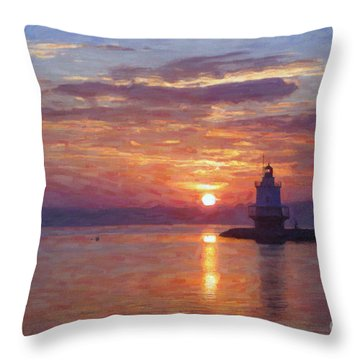 Sunrise At Spring Point Lighthouse Throw Pillow