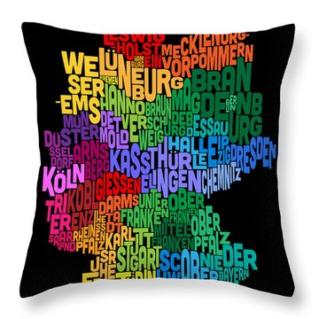 Text Map Of Germany Map Throw Pillow