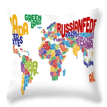 Text Map Of The World Throw Pillow