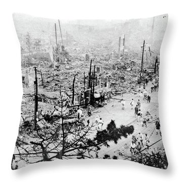 Throw Pillow featuring the photograph Tokyo Earthquake, 1923 by Granger