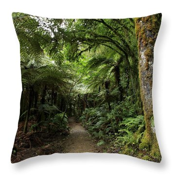 Tropical Forest Throw Pillow by Les Cunliffe