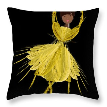 8 Yellow Ballerina Throw Pillow by Andee Design