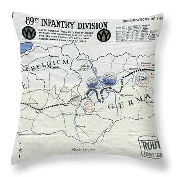 89th Infantry Division World War I I Map Throw Pillow