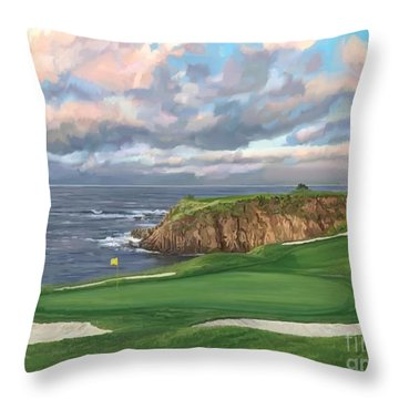 8th Hole Pebble Beach Throw Pillow