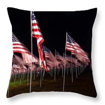 9-11 Flags Throw Pillow by Gandz Photography
