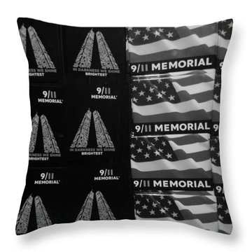 9/11 Memorial For Sale In Black And White Throw Pillow by Rob Hans