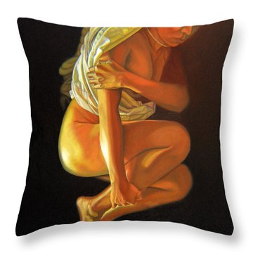 Throw Pillow featuring the painting 9 30 Am by Thu Nguyen