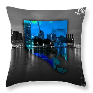 Baltimore Map Watercolor Throw Pillow
