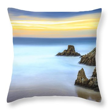 Campelo Beach Galicia Spain Throw Pillow