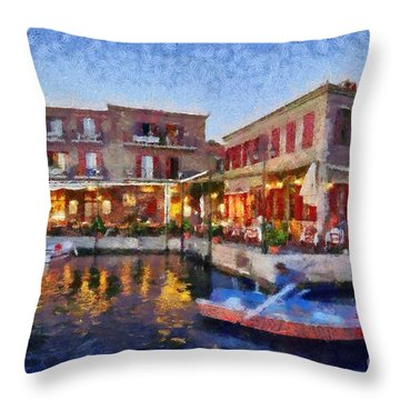 Molyvos Town In Lesvos Island Throw Pillow by George Atsametakis