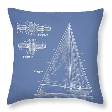 Sailboat Patent Drawing From 1938 Throw Pillow by Aged Pixel