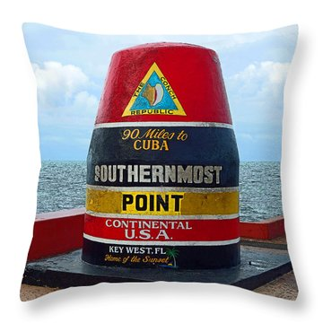 Southernmost Point Key West - 90 Miles To Cuba Throw Pillow by Rebecca Korpita