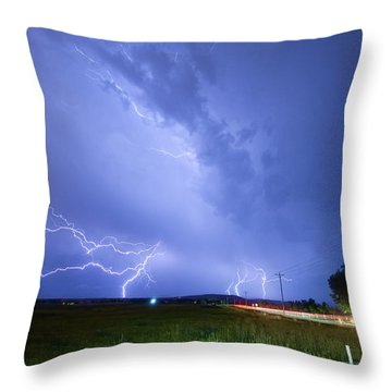 95th And Woodland Lightning Thunderstorm View Throw Pillow by James BO  Insogna