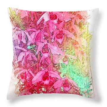 Pink Pretty Orchids Throw Pillow