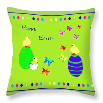 988 - Happy Easter   Greeting Card Throw Pillow by Irmgard Schoendorf Welch