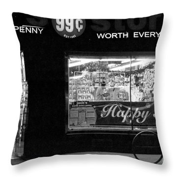99 Cents - Worth Every Penny Throw Pillow by Miriam Danar