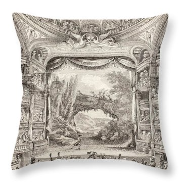 A 1789 Performance In The Theatre Des Varietes Amusantes Throw Pillow by French School