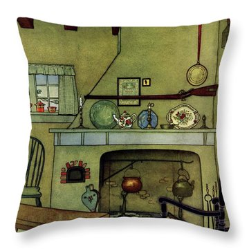 A 1920's Idea Of A Colonial Kitchen Throw Pillow