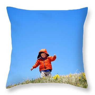 A 2 Year Old Hikes And Frolics Throw Pillow