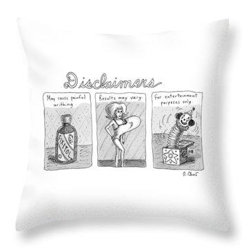 A 3 Panel Cartoon Of Disclaimers Involving A Jar Throw Pillow