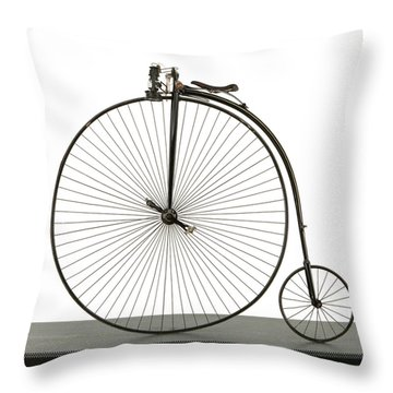 A 52 Inch Ordinary Bicycle, Cerca 1880 Throw Pillow