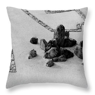 A Aerial View Of A Zen Rock Garden Throw Pillow