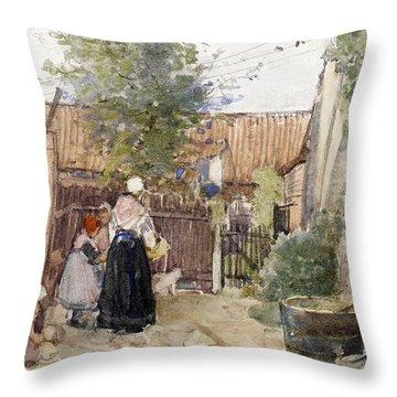 A Back Garden Berck Sur Mer Throw Pillow by Patty Townsend Johnson