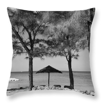 A Bahamas Scene In Black And White Throw Pillow