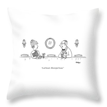 A Bald Man At A Bar In A Tux Speaking Throw Pillow