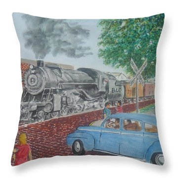 A Baltimore And Ohio Freight Passes Tracy Park Portsmouth Ohio Throw Pillow