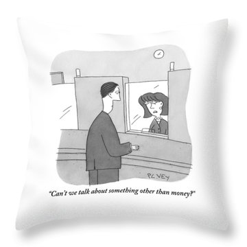 A Bank Teller Is Seen Speaking To A Man Throw Pillow