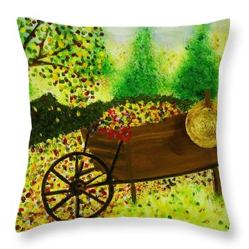 A Barrel Full Of Fun Throw Pillow by Celeste Manning