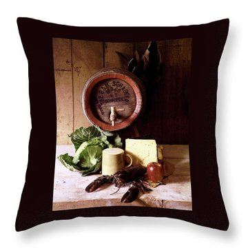 A Barrel Of Beer Throw Pillow by N. Courtney Owen