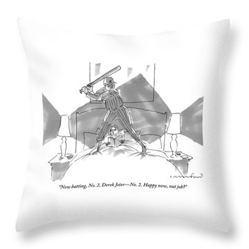 A Baseball Player About To Take A Swing Stands Throw Pillow