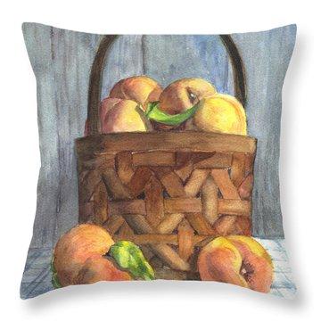 A Basket Of Peaches Throw Pillow by Carol Wisniewski