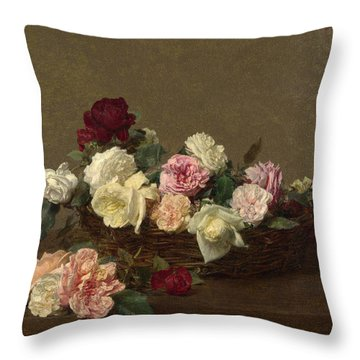 A Basket Of Roses Throw Pillow