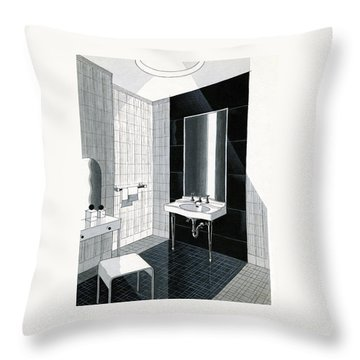 A Bathroom For Kohler By Ely Jaques Kahn Throw Pillow