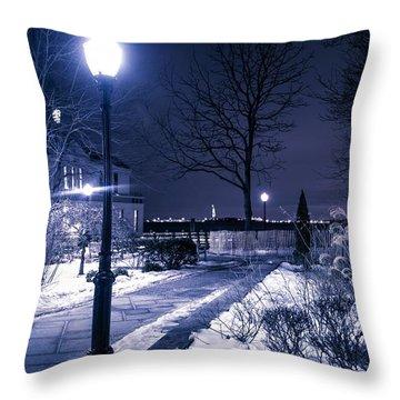 A Battery Park Winter Throw Pillow