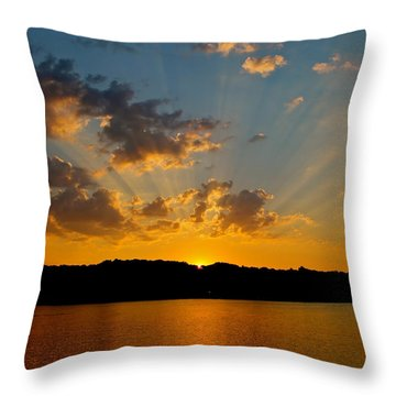 A Bay Sunset Throw Pillow by Justin Connor