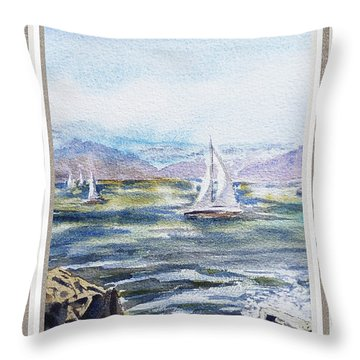 A Bay View Window Rough Waves Throw Pillow