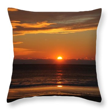 A Beach Life Sunrise Throw Pillow by Robert Banach