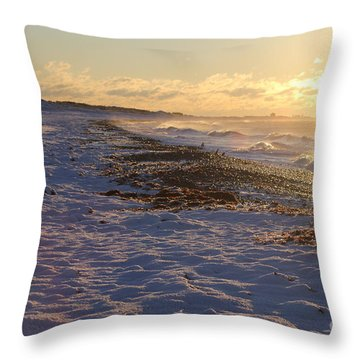 A Beachy Sunrise In The Winter Throw Pillow