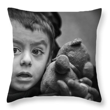 Throw Pillow featuring the photograph A Bear Is A Boys Best Buddy by Michel Verhoef