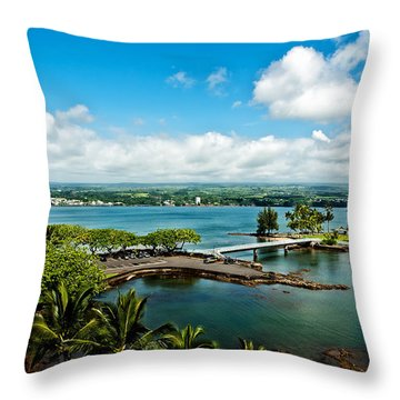 A Beautiful Day Over Hilo Bay Throw Pillow by Christopher Holmes