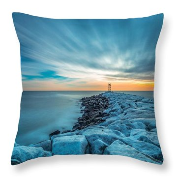 A Beautiful Sunrise At The Old Scituate Lighthouse Throw Pillow