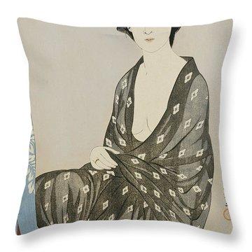 A Beauty In A Black Kimono Throw Pillow by Hashiguchi