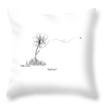 A Bee Flying Away From A Daisy After Pollination Throw Pillow